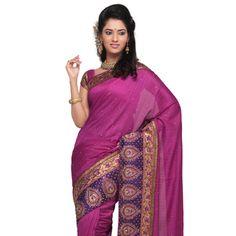 Dark Pink Art Silk Saree with Blouse Online Shopping: SAP1