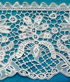 Antique/vintage hand made Youghal needle lace.