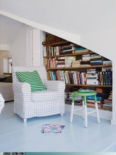 "Dream reading nook ~ maybe under stairs in basement? ~ "" my reading cave"" :) LOVE!!!!!!!!!!"
