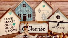 Love these houses❣️ They are stand alone thick 5 x 7 wooden houses with roofs❗️I used house pattern silkscreen transfers and several chalk paste colors. Scrap Wood Crafts, Chalk Crafts, Pallet Crafts, Diy Upcycled Decor, Diy Crafts For Home Decor, Crafts To Sell, Americana Crafts, Cute Little Houses, Block Craft