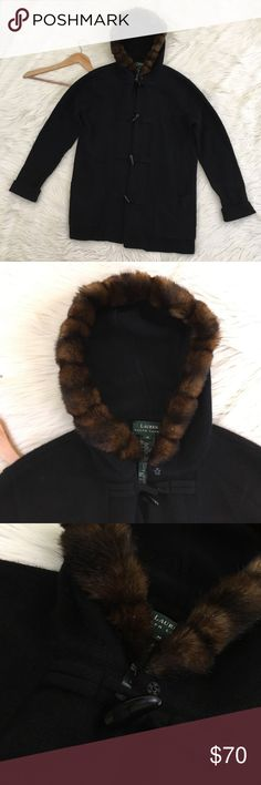 """Ralph Lauren Toggle Fur Hood Wool Cashmere Coat Lauren Ralph Lauren Womens Medium Knit Coat • Merino Wool, Angora Rabbit hair and cashmere • Toggle Buttons • Faux Fur trimmed Hood • Pockets • Long in length • really warm • Dry clean • excellent condition no flaws   Length: 30"""" Armpit to armpit: 22""""  📌NO low ball offers 📌NO modeling 📌NO trades  Please check out the rest of my closet, I have various brands and ALL different sizes. Some new with tags, others in excellent condition😊 Lauren…"""