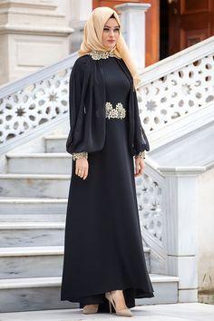 Puane Puane - Çiçek Detaylı Siyah Abiye Elbise Tesettür bayan giyimde elbise, ferace, eşarp, şal, haşema ve pardesü gibi tesettür giyime dair ürünlerin en yeni
