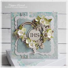 """W ramach wyzwania #3 """"Kreatywne pojedynki – komunijne pamiątki """" na blogu Craft ART. Na baziepapierów z kolekcji """"Beautiful Day"""" ... Cute Cards, Diy Cards, First Communion Cards, Card Tags, Paper Cards, Anniversary Cards, Vintage Cards, Christening, Wedding Cards"""