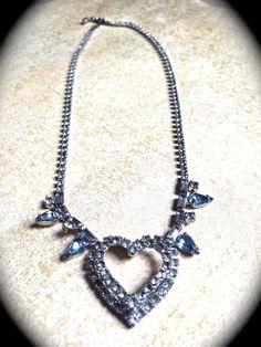 Rhinestone Heart #Necklace -Rhinestone Bridal Heart Rhinestone Necklace -Romantic -Runway -Statement Necklace with Blue Rhinestone accents  Bridal Heart Rhinestone Necklace ... #jewelry #vintage #christmas #gifts #etsy