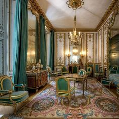 A private salon (The Cabinet Dore) of Marie Antionette's at Versailles, part of a suite of private rooms given to her by Louis XVI in 1782 celebrating the birth of the Dauphin.