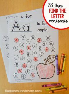 Print these free letter find printable worksheets for kids in preschool and kindergarten. They build fine motor skills, too! Print these free letter find printable worksheets for kids in preschool and kindergarten. They build fine motor skills, too! Preschool Letters, Letter Activities, Learning Letters, Preschool Kindergarten, Preschool Activities, Preschool Letter Worksheets, Letter Recognition Kindergarten, Learning Games, Preschool Learning Activities