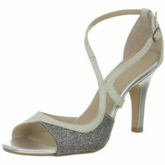 ivory/silver wedding shoes, these look so comfortable yet elegant!