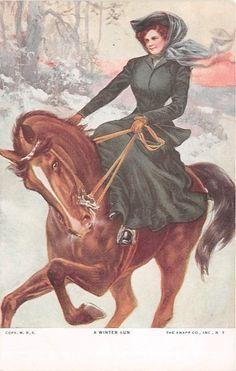 "Vintage Art Card Beautiful Woman Riding Horse Side Saddle "" A Winter Run """
