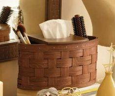 Love my Longaberger Metropolitan Basket...organizes my brushes and makeup making getting ready easier and decorative.
