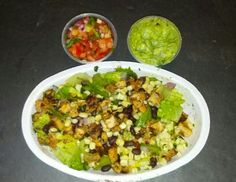 Chicken, black beans and corn salsa over salad greens from Chipotle Mexican Grill.