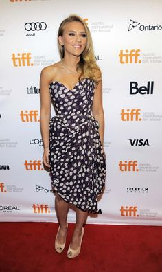 """Scarlett Johansson, star of the film """"Under the Skin,"""" poses at the premiere of the film on day 5 of the 2013 Toronto International Film Festival at The Priness of Wales Theatreon. #tiff."""
