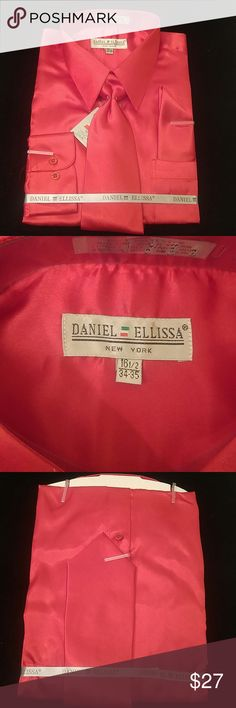MEN'S DRESS SHIRT RED COMBO PACK BY DANIEL ELLISSA Combination shirt, tie, pocket square. Regular fit. Brand:DANIEL ELLISSA Style:DS3012 NP2 Red Material:100% polyester satin rayon New in the bag      This shirt can be SPECIAL ORDERED in your size through Poshmark. Email me @shirtman48 for details. DANIEL ELLISSA Shirts Dress Shirts