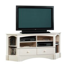 Sauder Harbor View Antiqued White Television Stand 402905