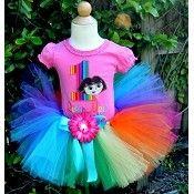 Girls Birthday Dora Rainbow Stripes Tutu Set