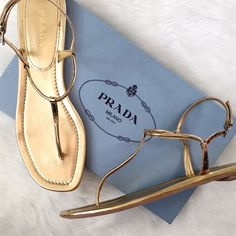 NIB Prada Gold Sandal Perfection for your summer casual look: sumptuous flats with skinny straps and a dainty ankle strap! No flaws, comes with dust bag and original box. These are Euro 41, please double check your size before ordering! Prada Shoes