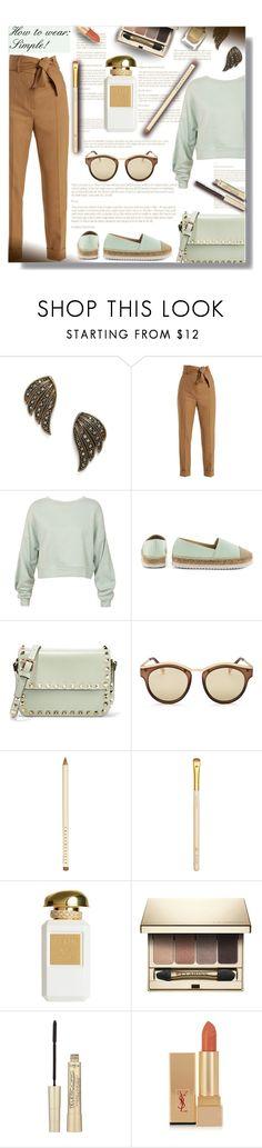 """""""How to wear: Simple! - Contest!"""" by sarahguo ❤ liked on Polyvore featuring Sara Battaglia, Sans Souci, Kensie, Valentino, Le Specs, Chantecaille, Estée Lauder, Clarins, L'Oréal Paris and Yves Saint Laurent"""