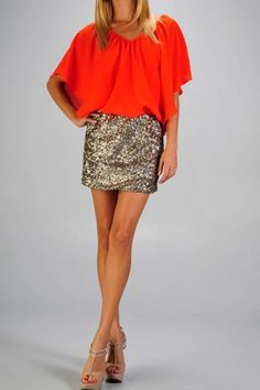 Orange and sequins. Love.