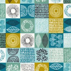 """Spring Scrapbook Robins Egg - """"Shape Of Spring"""" collection by Eloise Renouf for Cloud 9 Fabric - Quilters Woven Textile Patterns, Color Patterns, Print Patterns, Textiles, Cloud 9, Surface Pattern Design, Pattern Wallpaper, Graphic, Abstract Pattern"""