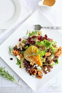 Fresh Pear and Gorgonzola Salad with Candied Rosemary Walnut Clusters. An elegant addition to the holiday table. Honey Roasted Carrots, Roasted Root Vegetables, Pear Gorgonzola Salad, Gorgonzola Cheese, Rosemary Simple Syrup, Fresh Beets, Spiced Pear, Salad Topping, Grilled Chicken Salad