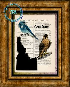 IDAHO State Black Silhouette with State Birds, Gem State Art - Vintage Dictionary Page Art Print Upcycled Page Print by CocoPuffsArt on Etsy