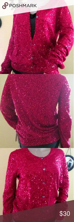 """Sequin Sparkling Red Sweater Donna Karen 8 Sparkling  Red Sequin Sweater Silk and Cashmere Blend Stunning Condition Throughout 7 Button Down Front Sleeves: 28"""" Total Length from shoulder to Bottom Hem: 24"""" Bust: 38"""" Softly ribbed Sleeve cuffs and waist. Beautiful...Stunning ...Sparkles...Shimmers...and Shines ! Holiday Red Label: Donna Karen size Med Donna Karen  Sweaters Cardigans"""