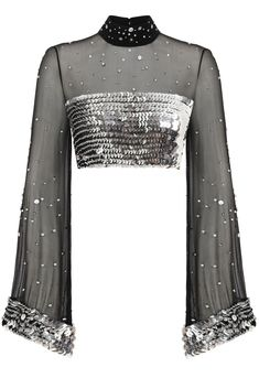 Strass Embellished Black Crop Top by Raisa Vanessa Stage Outfits, Kpop Outfits, Mode Outfits, Mode Kpop, Indian Designer Wear, Saree Blouse Designs, Black Crop Tops, Mode Style, New York Fashion