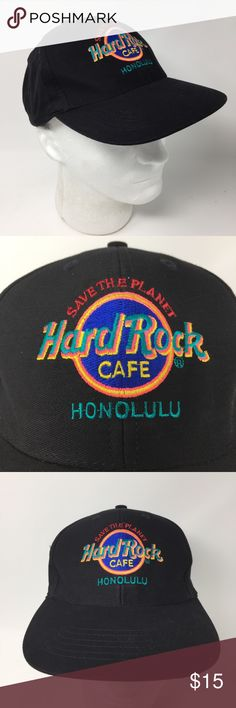 Hard Rock Cafe Honolulu Black Hat Save The Planet Hard Rock Cafe Honolulu Black Hat Save The Planet OS  We LOVE finding unique and special hats ... of all kinds. Some are new and some have been pre-owned.   We sell NFL, NBA, NHL, and MLB hats. NCAA hats and NASCAR hats. And, we find other great hats like this one ...  Comes from a smoke free and pet free environment. Hat will be shipped in a box to prevent it from from getting crushed. Hard Rock Cafe Accessories Hats