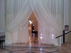 "Wedding Sheer Drape, curtain 12'x116"" white, ivory, for backdrop, wall covering $39"