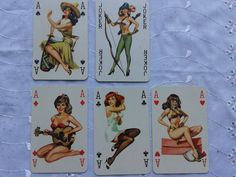 vintage 1960s drawn Pin-Up Playing Cards