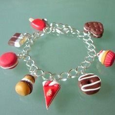 Bracelet 8 gourmandises,  chocolat et rouge, pour adulte ou enfant