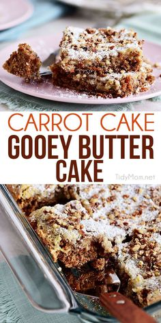 Carrot Cake Gooey Butter Cake is a spice cake chock-full of real carrots and pecans giving a spring twist to the traditional favorite Gooey Butter Cake. Spring Desserts, Just Desserts, Delicious Desserts, Spring Recipes, Health Desserts, Vegan Desserts, Food Cakes, Cupcake Cakes, Ooey Gooey Cake