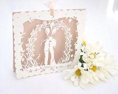 Boho bride. (A laser cut wedding invitation in nude & silk card.)