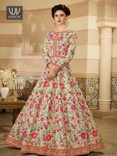 Rs9,090.00 Silk Anarkali Suits, Long Anarkali, Anarkali Gown, Sharara Suit, Silk Dupatta, Salwar Suits, Saree, Pakistani Frocks, Pakistani Dress Design
