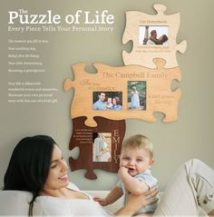 The Puzzle of Life is a perfect Mother's Day gift. Every piece of the puzzle picture frame tells the story of your family.