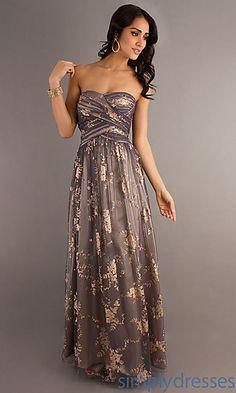 Long Strapless Print Dress at SimplyDresses.com