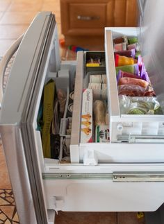 Tour My Kitchen: refrigerator and freezer organization Tour My Kitchen: refrigerator and freezer organization plus tips for keeping food fresh, longer. Refrigerator Organization, Kitchen Cabinet Organization, Refrigerator Freezer, Organization Hacks, Kitchen Storage, Kitchen Refrigerator, Organizing Ideas, Chest Freezer Organization, Storage Spaces
