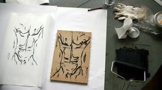 working on new woodcut limited edition