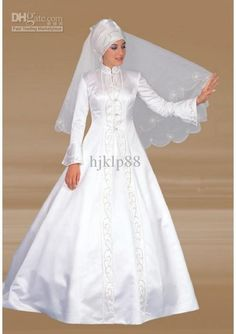 New Beautiful A-line Floor Length High-Neck Long Sleeve Dress Embroidery White Satin Church Muslim Wedding Dresses, $104.82