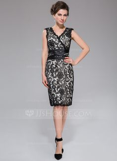 Sheath/Column V-neck Knee-Length Charmeuse Lace Cocktail Dress (007037276) - JJsHouse