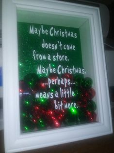 The grinch saying on a Christmas shadow box. Diy Christmas Shadow Box, Cricut Christmas Ideas, Grinch Christmas Decorations, Adult Christmas Party, Cheap Christmas Gifts, Homemade Christmas Gifts, Diy Christmas Ornaments, Christmas Projects, Diy Christmas Boxes