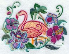 Machine Embroidery Designs at Embroidery Library! - Flamingos