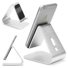 [EDEL] Original Urcover® Designer Aluminium Edition Smartphone Ständer und Halter für Apple iPhone/iPod, HTC Huawei Nokia Samsung Handy Ständer für jedes Modell [DEUTSCHER FACHHANDEL] Silber 29,90€
