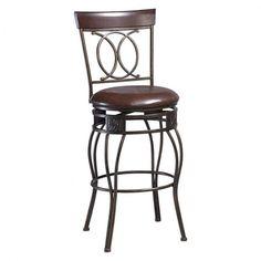 Counter Height Bar Stool Decorative Metal Sculpted Legs Swivel Cushion Seat (1) #Linon