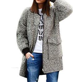 Persun Women's Grey Collarless Pocket Long Sleeve Plus Size Coat US$33.79 - $33.99