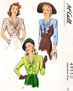 1940s BEAUTIFUL Blouse Pattern McCALL 4953 V Draped Neckline Bow Tied Film Noir Style WW II War Time Bust 32 Vintage Sewing Pattern