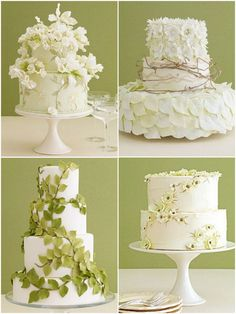 Holy Wow!  I absolutely love all of these.  What great ideas for a spring time wedding! ... or is it just because I like/need pretty cake/s??
