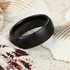 Domed & Brushed Black Ceramic Ring for Men and Women - Tungsten Republic