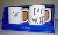 "NIP ~ RAE DUNN ~ ""DAD"" & ""DAD'S FAVORITE"" ~ SET of 2 MUGS ~ FATHER'S DAY! #RaeDunn #FARMHOUSE"