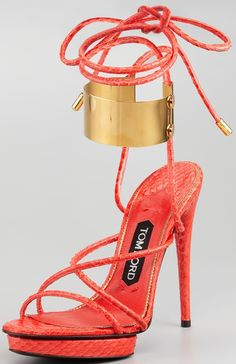 Tom Ford Coral Brass Ankle-Wrap Snakeskin Sandals $1,390 Fall 2013 #Shoes #Heels
