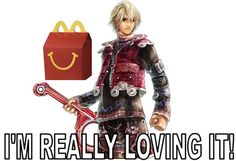 McMonado Chronicles #SuperSmashBros If Shulk was the McDonalds mascot instead of those weird happy meal boxes with the creepy faces then I would eat McDonalds happy meals all the time....especially if I got a little Xenoblade chronicles toy